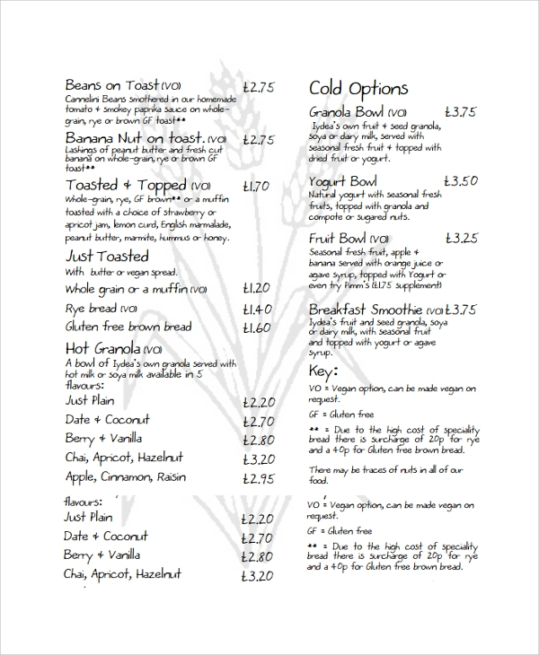 sample a3 menu