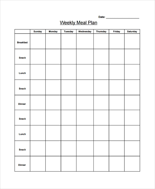 sample blank weekly menu
