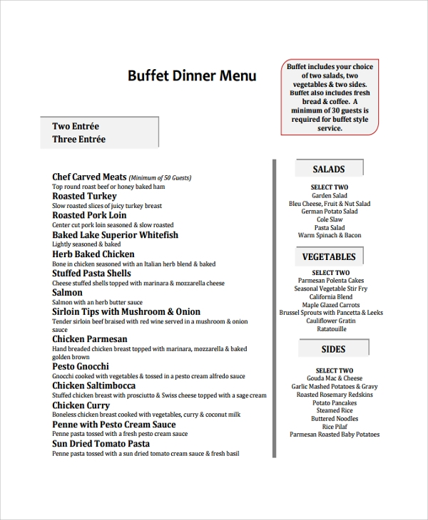 sample buffet dinner menu