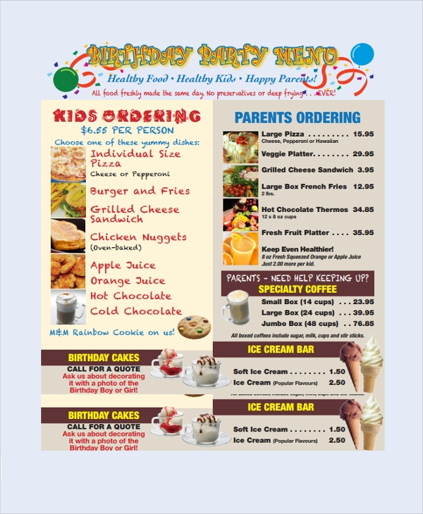 sample birthday party menu