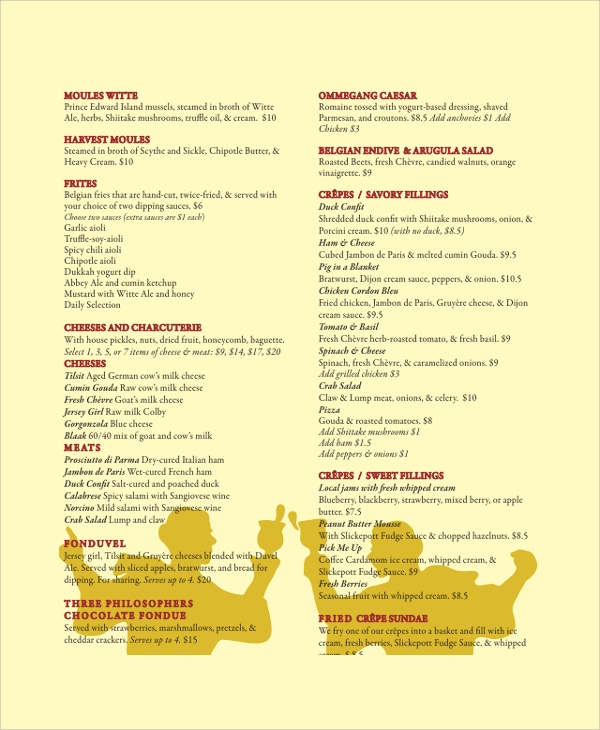 sample food menu