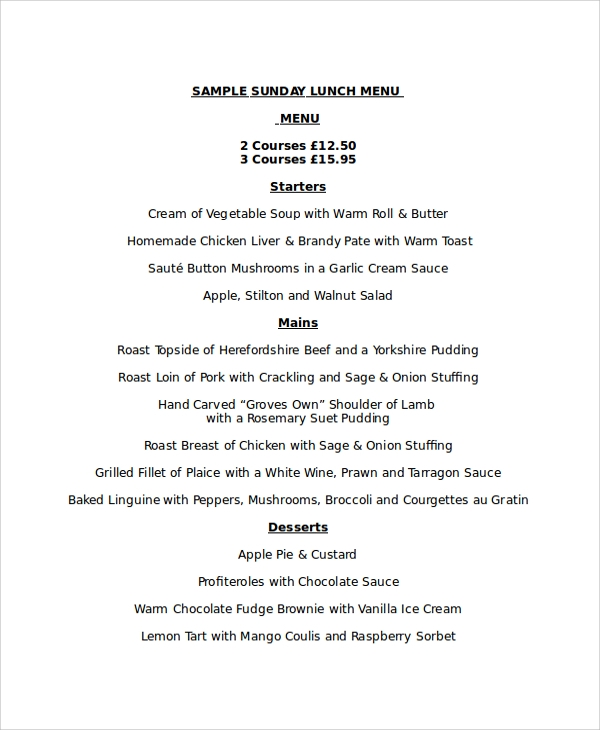 sample lunch menu