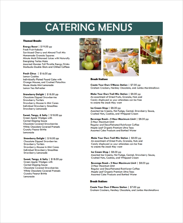 sample banquet menu