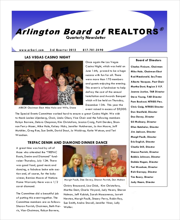 real estate quarterly newsletter