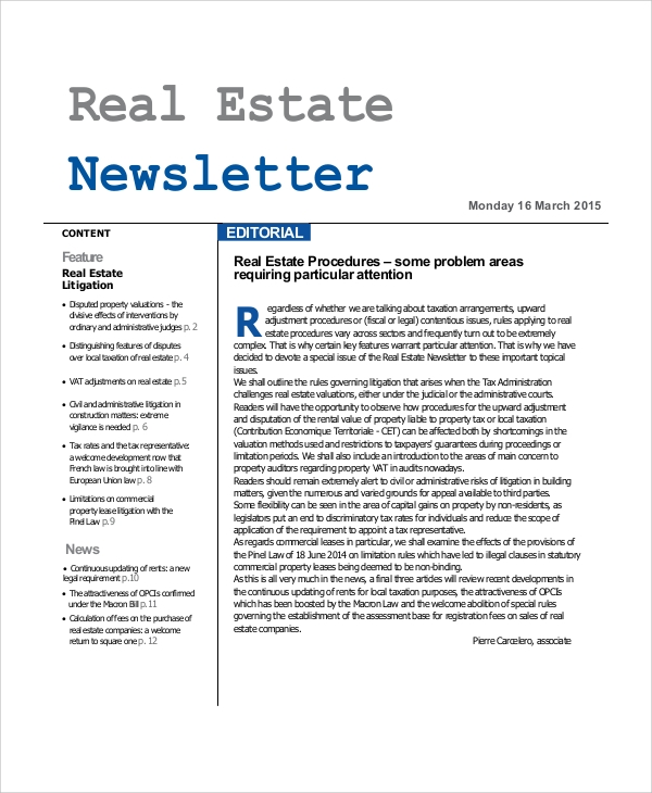 sample real estate newsletter