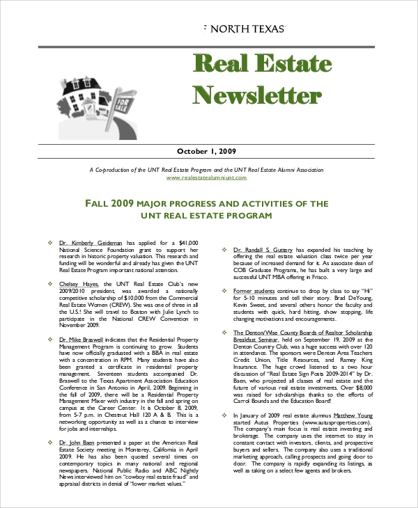 Sample Real Estate Newsletter   Documents In Pdf