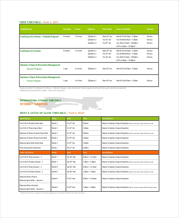 student study timetable sample