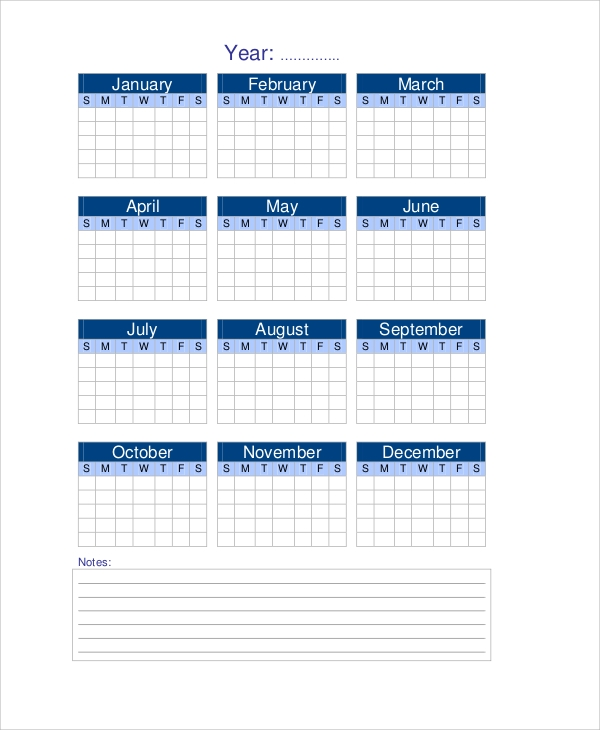Sample Yearly Calendar   Documents In Pdf