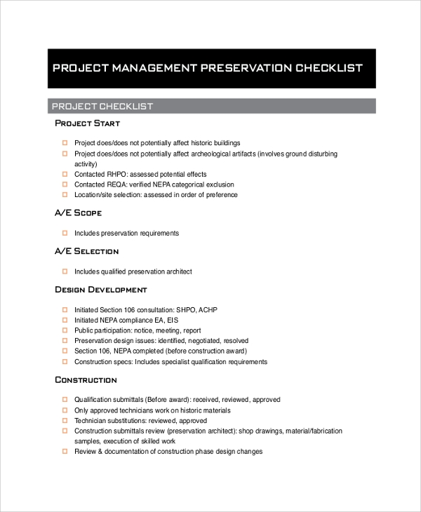 project management checklist