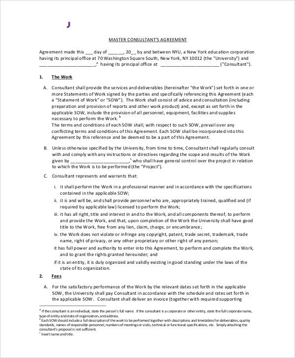 8 standard consulting agreement samples sample templates for Consultation contract template