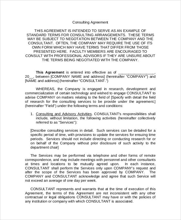 standard company consulting services agreement