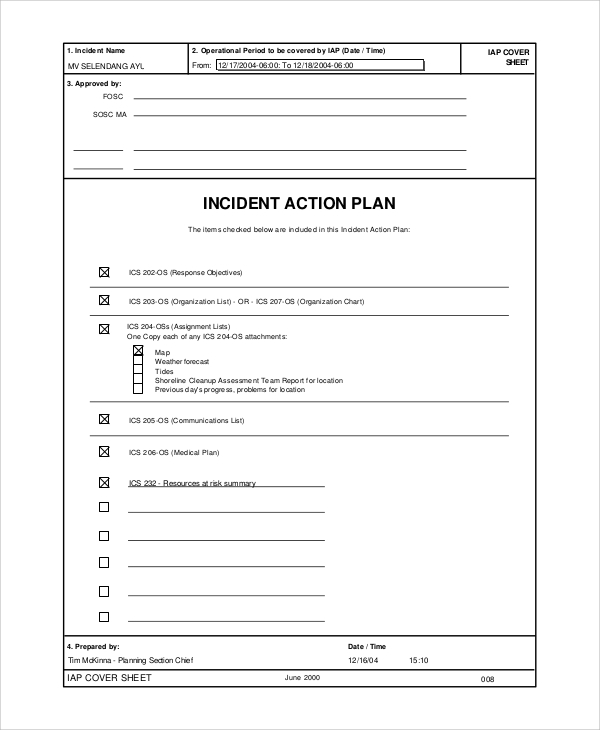 Sample Incident Action Plan   Documents In Pdf