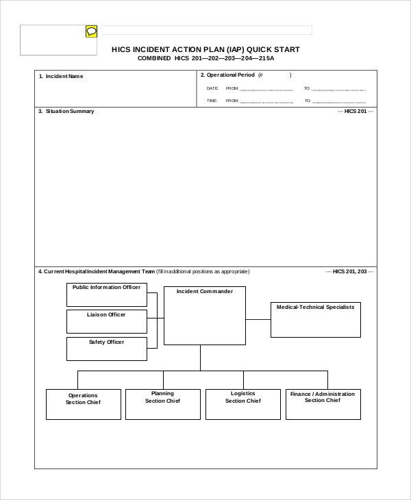 hics incident action plan sample