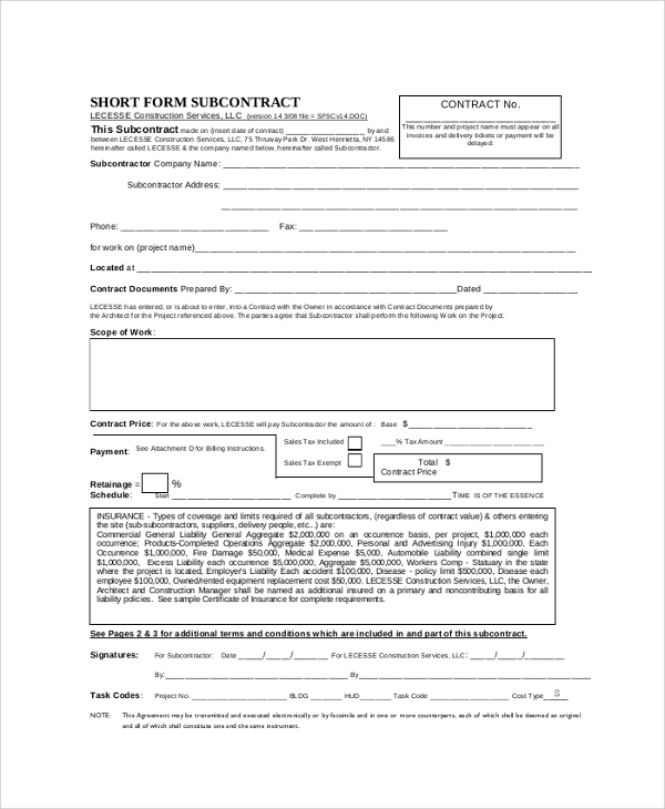Subcontractor Agreement Form Subcontractor Services