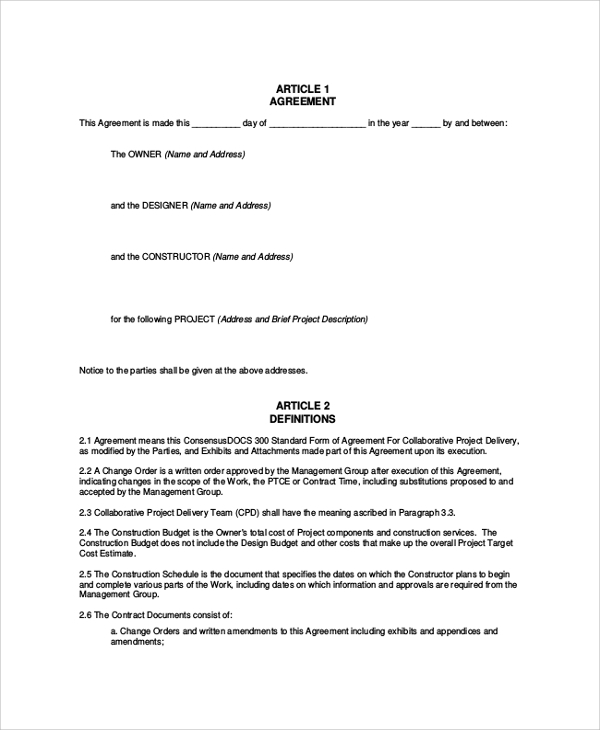Sample Construction Agreement Form   Documents In Pdf Word