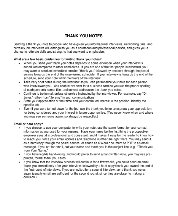 Sample Thank You Note Interview   Examples In Pdf