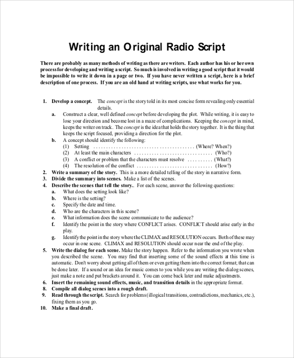 format for script writing