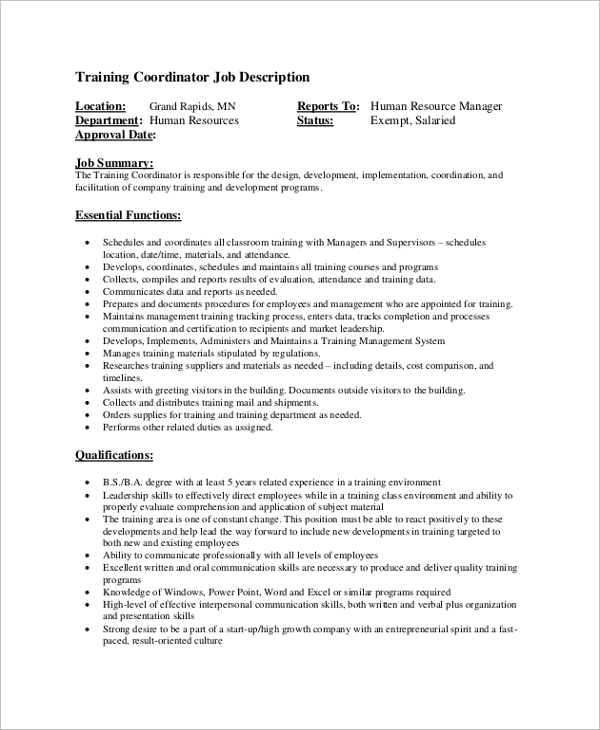 Sample Job Description 19 Documents in PDF Word – Coordinator Job Description