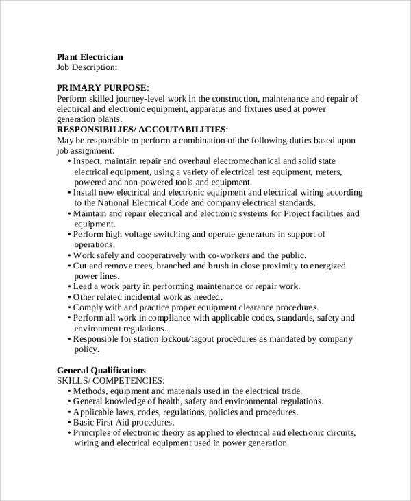 sample electrician job description - Responsibilities Of An Electrician