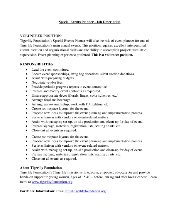 corporate event planner job description