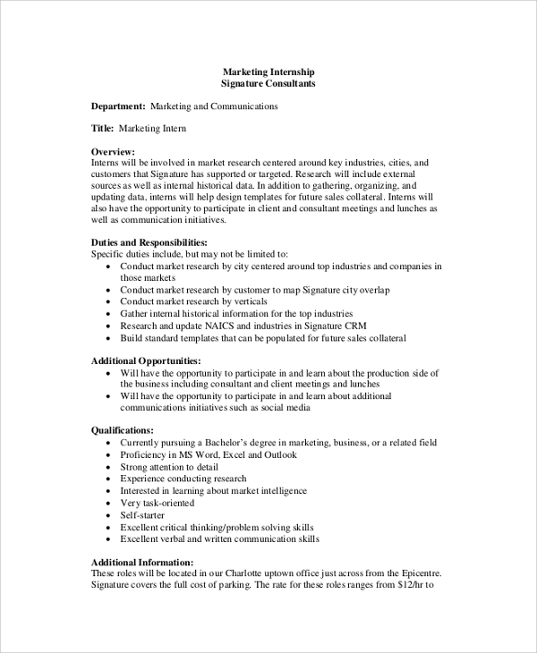 Sample Job Description 19 Documents in PDF Word – Business Intern Job Description