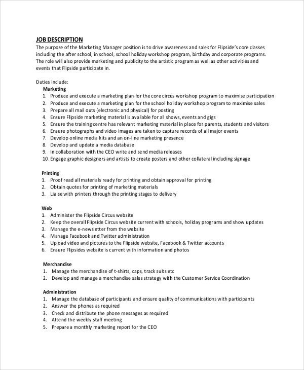 marketing manager job description pdf