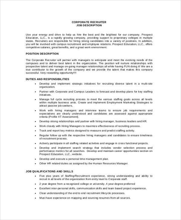 sample recruiter job description