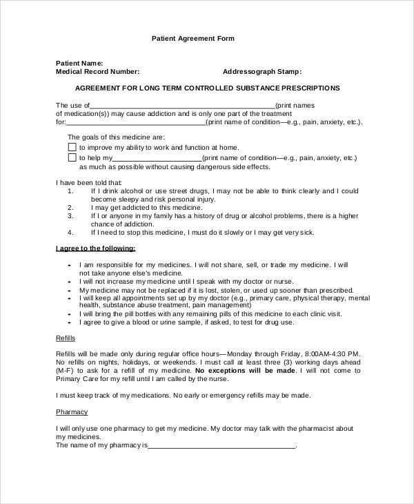 sample patient agreement form