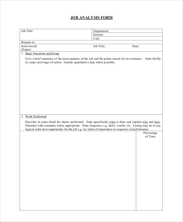 Sample Form 18 Documents in PDF – Sample Job Analysis