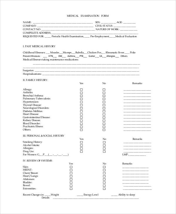 Sample Medical Examination Form