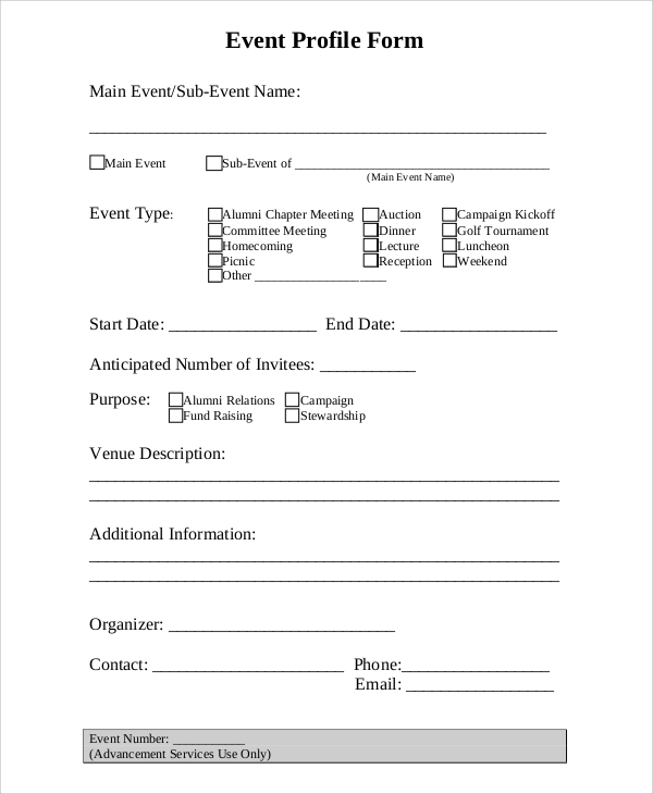 event profile form sample