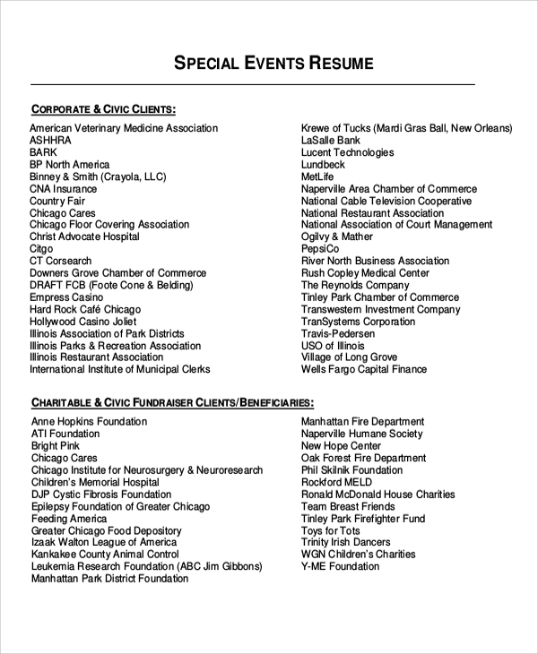 special event resume