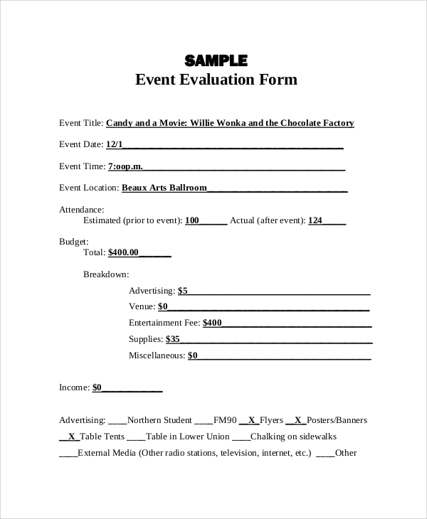 Event Evaluation Event Evaluation Sample Event Evaluation Forms