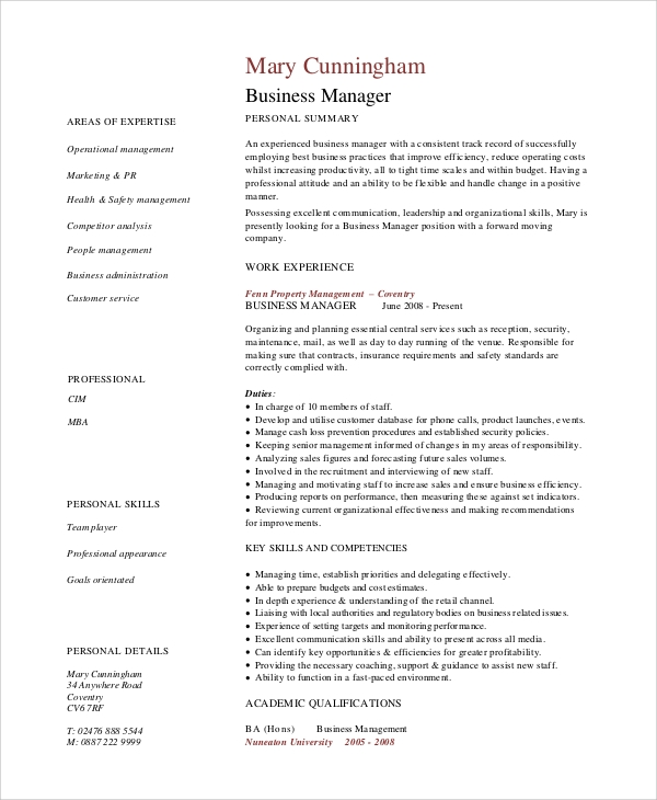 sample business cv