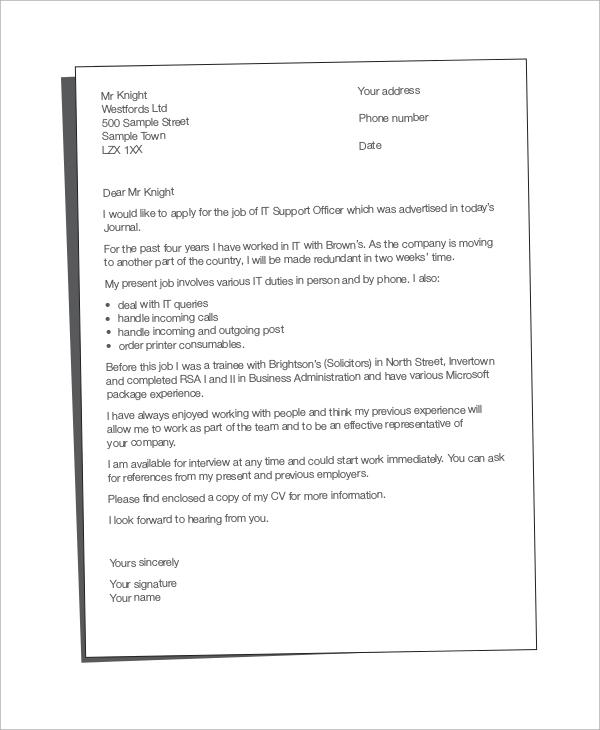sample cover letter for cv