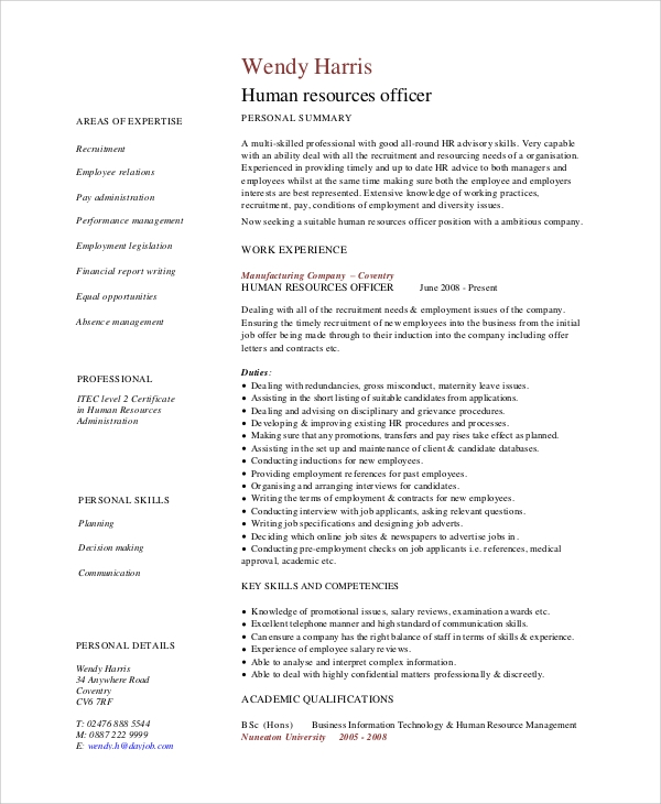 sample hr cv