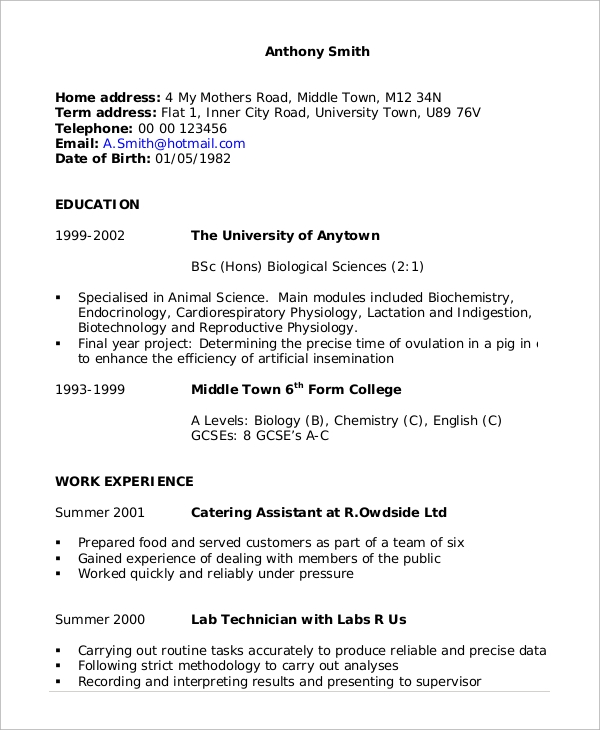 sample job cv