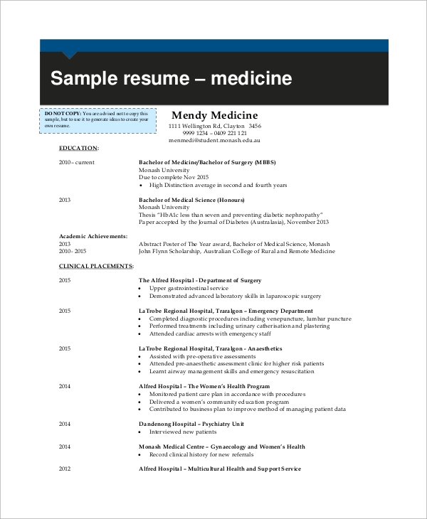sample medical cv