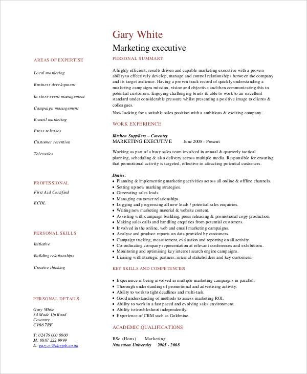 sample marketing cv