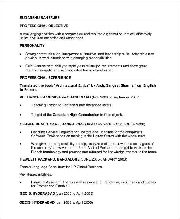 sample professional cv