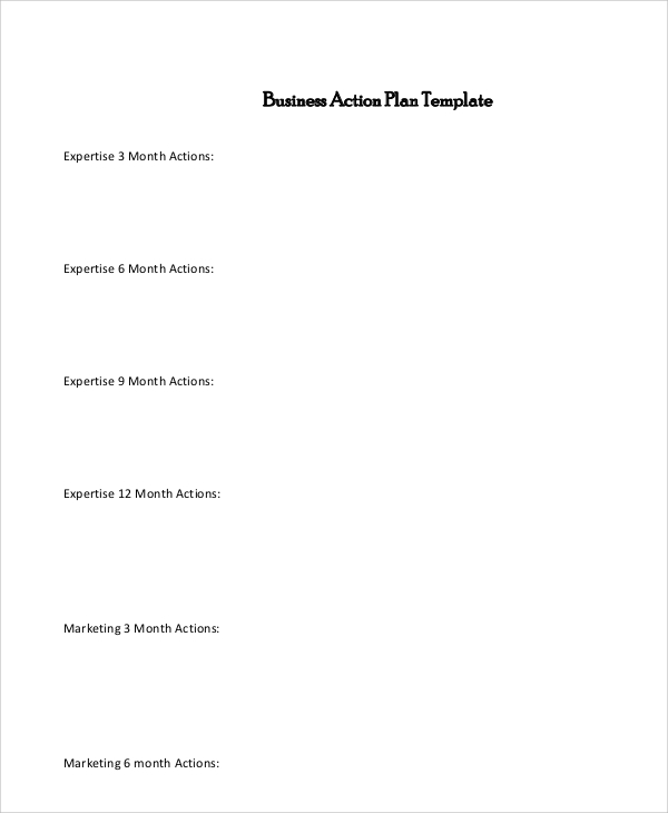 Sample Business Action Plan 7 Documents In Pdf Word