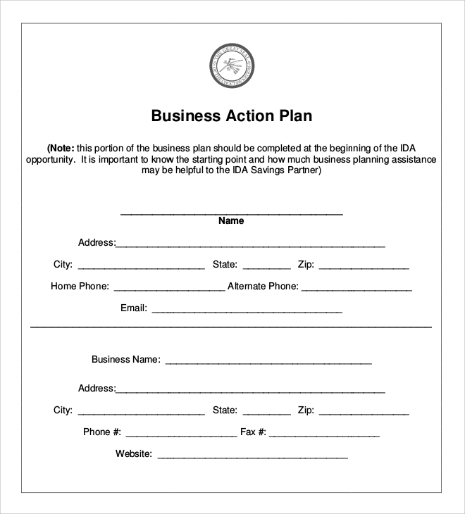 Sample Business Action Plan   Documents In Pdf