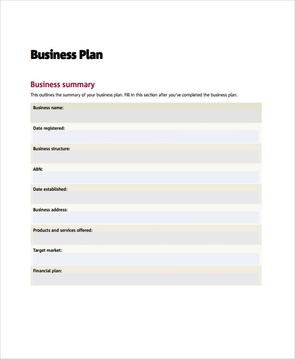 Printable Business Action Plan Sample  Business Action Plan Template