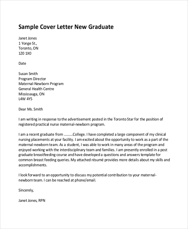 Sample graduate cover letter – Rn New Grad Cover Letter