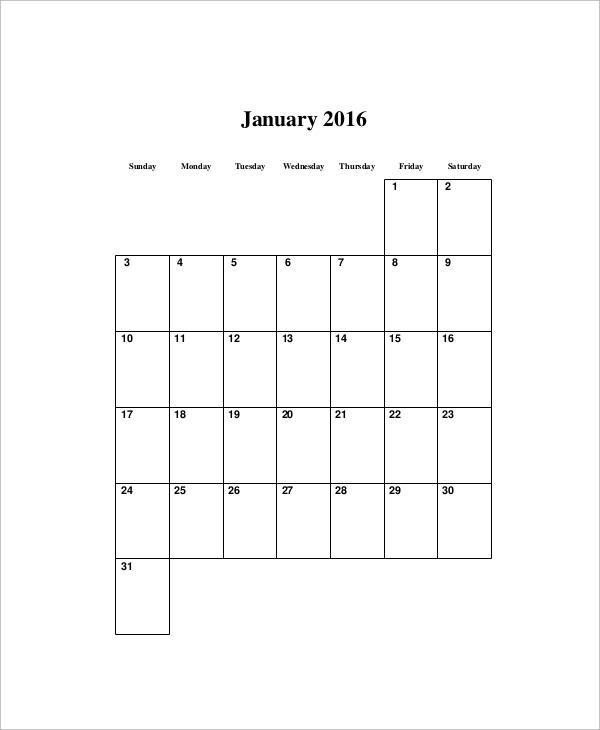 monthly blank calendar