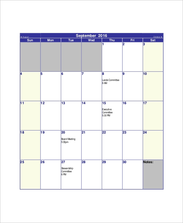 sample monthly meeting calendar