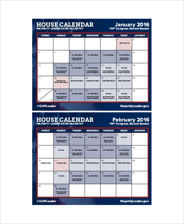 sample monthly house calendar