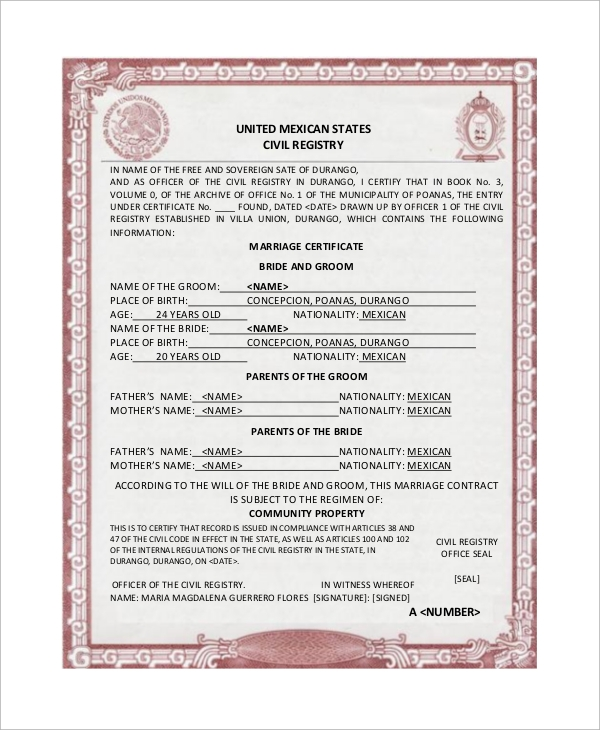16 sample marriage certificates sample templates for Mexican marriage certificate translation template