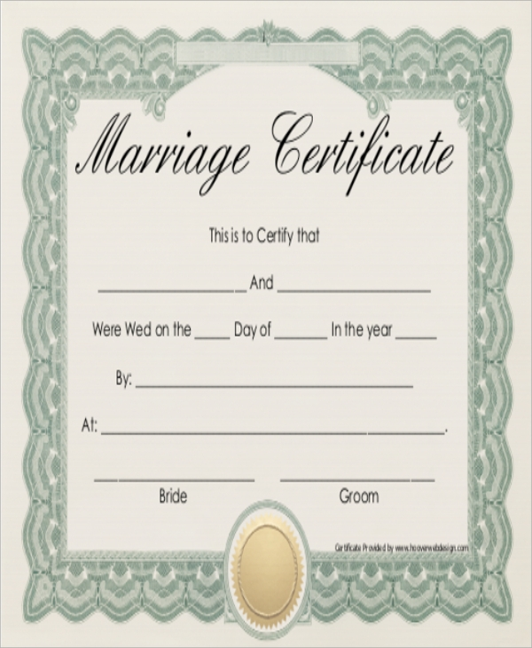 Sample marriage certificate 16 documents in pdf word marriage certificate green frame yadclub Choice Image