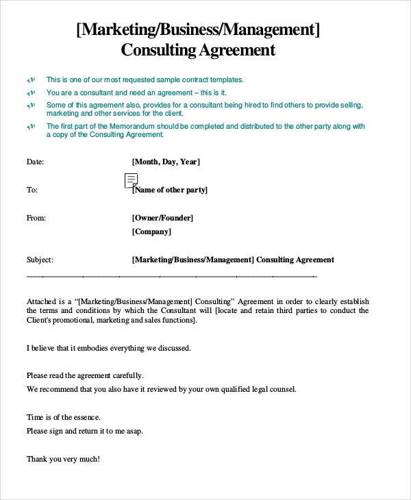 Sample Marketing Consulting Agreement 5 Documents in PDF – Consulting Service Agreement